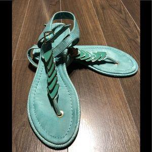 Aldo aqua and gold flat sandal size 6.5